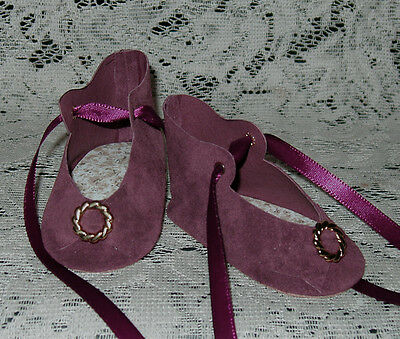 """Handmade Leather Doll Shoes ~ German Style ~ For 3 1/4"""" ~ Wine Suede"""