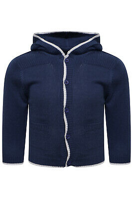 Baby Boy Cardigan Cardi Hoodie Sweater Jumper Top Lightweight Navy Blue Ex M+S