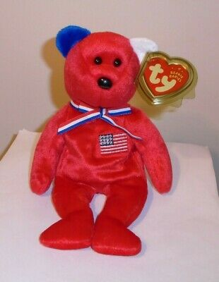 Ty Beanie Baby ~ AMERICA (RED) the Bear ~ Exclusive ~ MINT with MINT TAGS