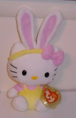 Ty Beanie Baby ~ HELLO KITTY Easter Bunny (Yellow Overalls) ~MINT with MINT TAGS