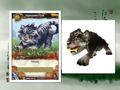 NEW UNSCRATCHED! NIGHTSABER CUB Pet Loot Card WORLD OF WARCRAFT WOW TCG