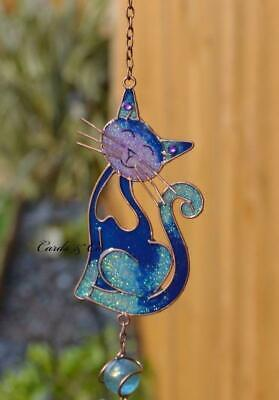 Blue Stained Glass Smiling Cat Hanging Suncatcher Mobile Windchime Garden Home