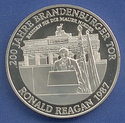 Medaille 200 J. Brandenburger Tor Ronald Reagan 1987 Ø 40 mm 28 Gr. B38/14