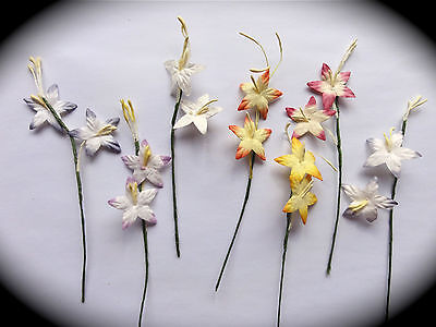 Card Making Embellishments MULBERRY PAPER FLOWERS 10 or 25 STARGAZER LILLIES