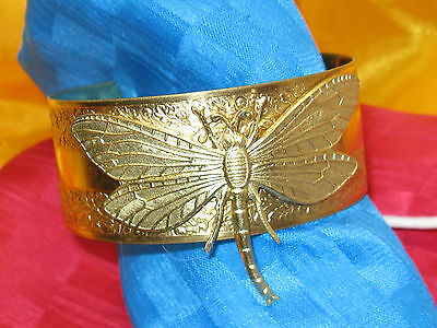 DRAGONFLY BRACELET Gold CUFF EGYPTIAN REVIVAL JEWELRY DRAGONFLY CUFF GOLD