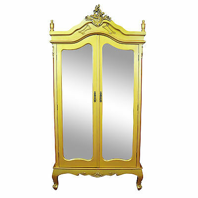 French Style Antique Gold Double Full Mirrored Armoire Wardrobe