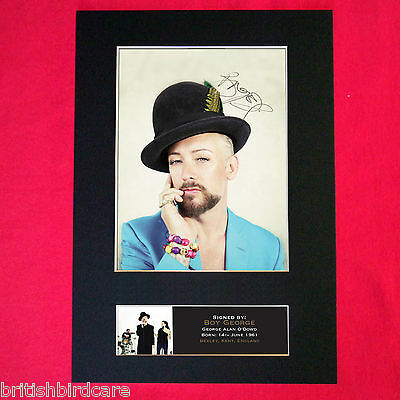 BOY GEORGE Autograph Mounted Photo REPRO QUALITY PRINT A4 394