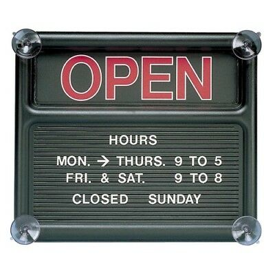 """Quartet® Open/Closed Sign, 318 Characters for Custom Msgs, 14""""x12"""", Black"""