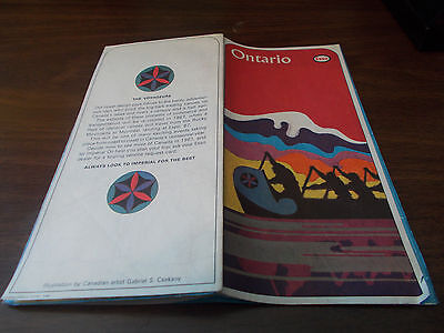 1966 Esso Ontario Vintage Road Map / Nice Cover Art !!