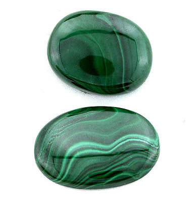 110.35 Carat 2 Oval Green Natural Africa NO DYE Malachite Cab Cabochon Gem T2A8