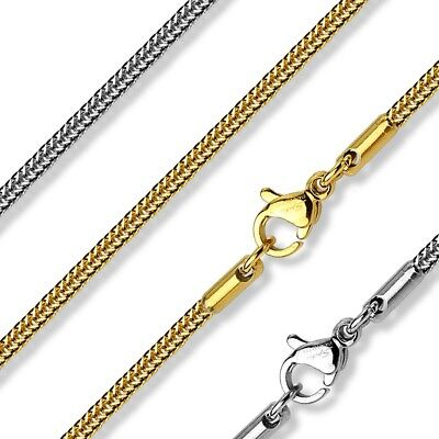 """Stainless Steel Square Snake Chain Necklace 17""""-21"""" (Choose Color)"""