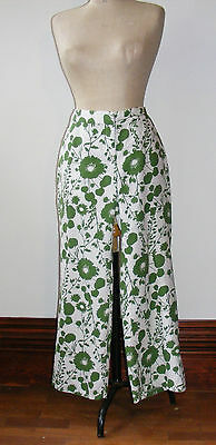 H&M Cotton Print Trousers. Green Floral Print on White. UK 10