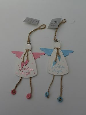 Guardian Angel Baby Hanging Decoration Pink or Blue Christening Gift