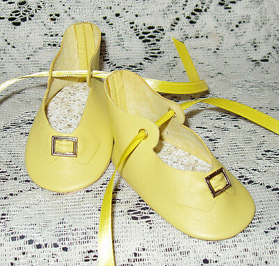 """Handmade Leather Doll Shoes ~ German Style ~ 3"""" x 1 1/2""""   Yellow"""