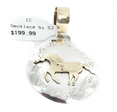 $200 Tag 12k GF & .925 Sterling Silver Horse Handmade Authentic Navajo Pendant