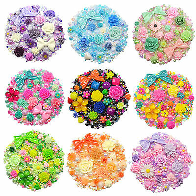 MIX SET Flatback Cabochons & Pearl Diamantes Embellishment Decoden Resin Rose