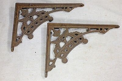 "2 old Shelf brackets 5 X 7"" Eastlake flower rustic texture iron vintage supports"
