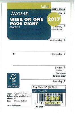 Filofax 2017 Mini size Diary - Week On One Page Insert Organiser Refill 17-68126