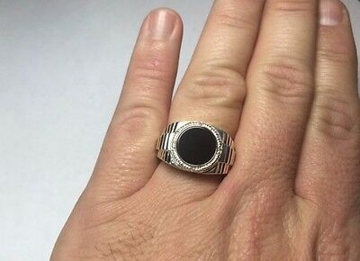 Sterling Silver Round 11mm Genuine Black Onyx & Diamond Men's Ring