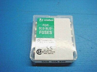 (5) Littelfuse 326.010 3Ab 3Ag 250V 10Ma Slo-Blo Ceramic Cartridge Fuse