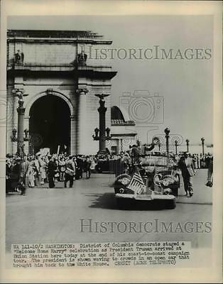 1948 Press Photo of President Harry Truman after he returned from his coast to