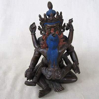Large Copper Tibet Samantabhadra & Consort Dharmavajra In Yab Yum Crowns Nepal