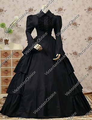 Gothic Victorian Black Dress Dark Witch Steampunk Ghost Halloween Costume 007