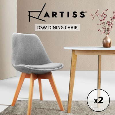 2 x Retro Replica Eames Eiffel DSW Dining Chairs Cafe Kitchen Beech Fabric