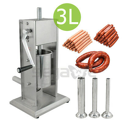 Sausage Stuffer Vertical Stainless Steel 2 Speeds 3L/7LB 5-7 Pound Meat Filler