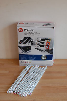 [Pack of 100] GBC Procomb 16mm A4 Ring Plastic Combs White 4400328