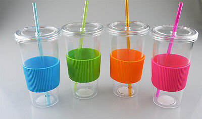 Beaker Drink Juice Outdoor Travel with Straw Camping 750ml 4 Colours