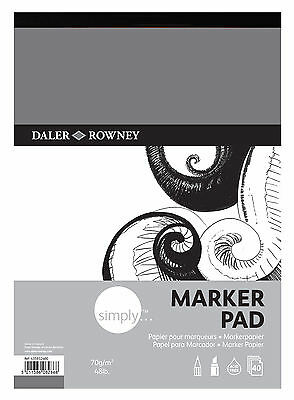 DALER ROWNEY SIMPLY A3 MARKER PAD 70gsm 48lb ARTIST BLEED PROOF PAPER 40 SHEETS