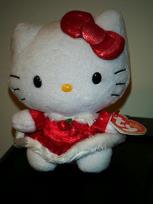 Ty Beanie Baby ~ HELLO KITTY (Red Christmas Dress) ~ MINT with MINT TAGS