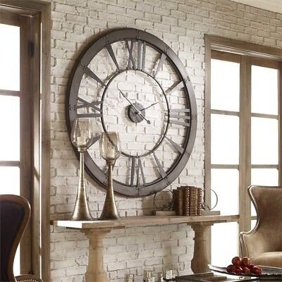 60 Oversized Farmhouse Style Roman Wall Clock Rustic Bronze Finish