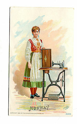 Victorian Trade Card SINGER SEWING MACHINE 1892 NORWAY national costume