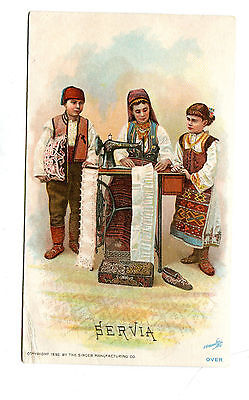 Victorian Trade Card SINGER SEWING MACHINE 1892 SERVIA national costume
