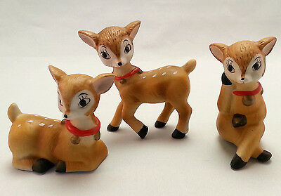 """Reindeer Figurines Christmas Ceramic Cute Poses Homco Set of 3 up to 4"""" tall"""