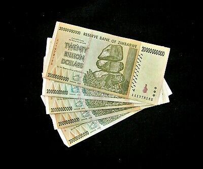 6 Zimbabwe banknotes-5 x 20 Billion Dollars + 1 dollar-paper money currency
