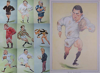 10 x ENGLAND RUGBY PLAYER PRINTS by JOHN IRELAND MOUNTED READY FOR FRAMING