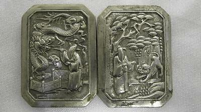 Antique Solid Silver Two Part Belt Buckle Mythical Creatures Far East 1900