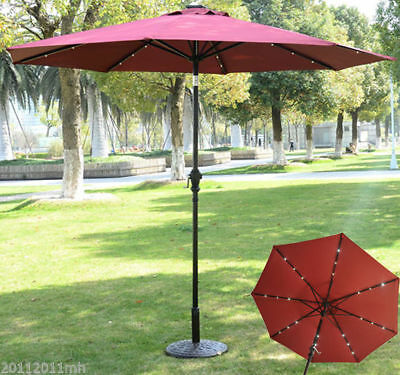Outsunny 9ft Solar Patio Umbrella Outdoor Sunshade 24 LED Lights Wine Red