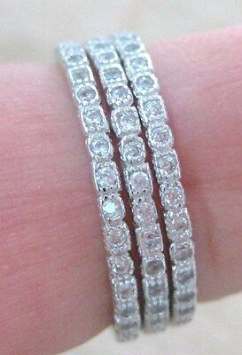 """(3 RINGS) 925 STERLING SILVER """"WHITE Cz ALL ROUND"""" 1.5mm Thin BAND big size GIRL"""