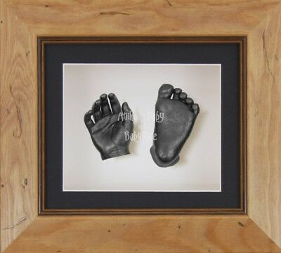 BabyRice 3D Baby Casting Kit Set Rustic Wooden Frame Pewter Hand Foot Casts