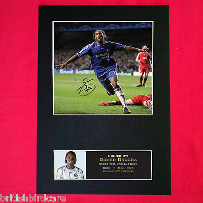 DIDIER DROGBA No1 Autograph Mounted Photo REPRO QUALITY PRINT A4 45