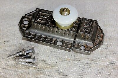 "old cabinet latch cupboard 3"" catch rustic porcelain knob Windsor vintage 1880's"