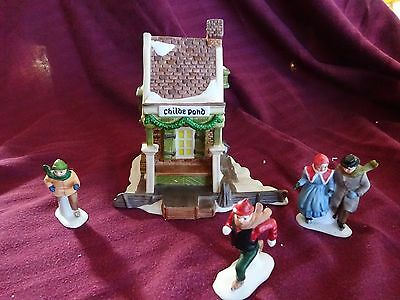 """Rare Dept 56 Heritage Collection: """"childe Pond & Skaters"""" 4 Pieces - Orig Box"""