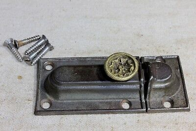 "Cabinet catch jelly Cupboard 3 1/8"" Latch old vintage 1870's brass wreath knob"
