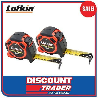 Lufkin Control Series Tape Measure 8mx30mm 2 Pack The Ruler of Fat Max CS58SIX2