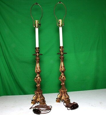 """2 Vintage Collectable Beautiful Lamp Bases 36"""" tall Heavy Brass 8 lbs each GE SW"""