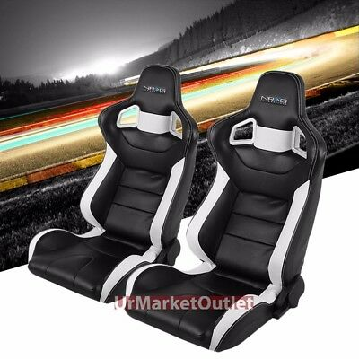NRG Black/White PCV Leather Metal Frame Bucket Style Left+Right Racing Seat+Rail
